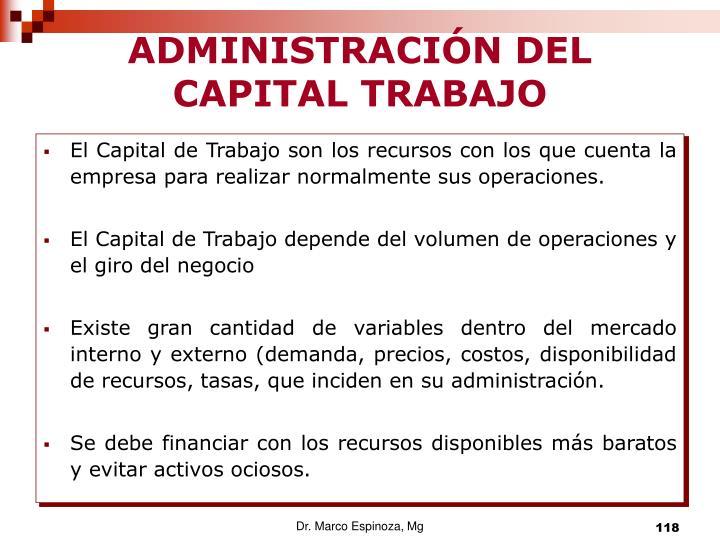 ADMINISTRACIÓN DEL CAPITAL TRABAJO