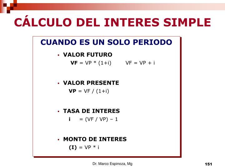 CÁLCULO DEL INTERES SIMPLE