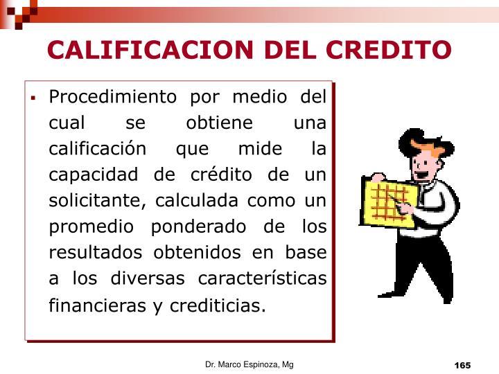 CALIFICACION DEL CREDITO