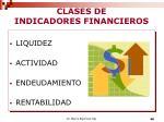 clases de indicadores financieros
