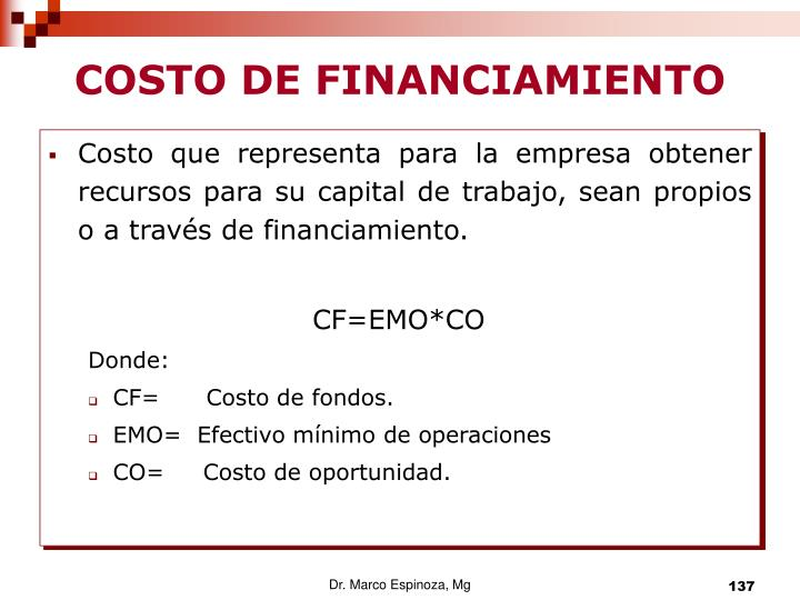 COSTO DE FINANCIAMIENTO