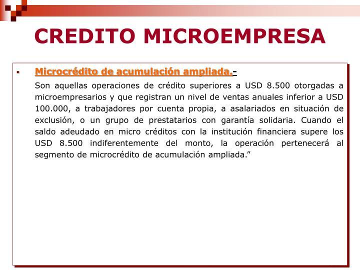 CREDITO MICROEMPRESA