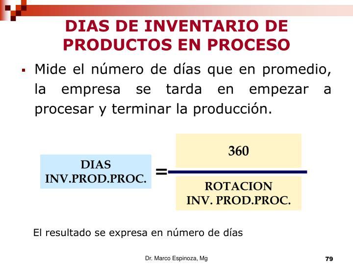 DIAS DE INVENTARIO DE PRODUCTOS EN PROCESO