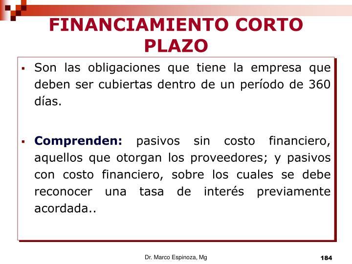 FINANCIAMIENTO CORTO PLAZO