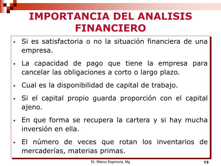 IMPORTANCIA DEL ANALISIS FINANCIERO