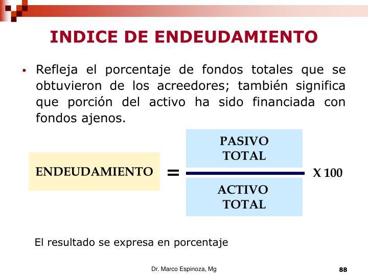 INDICE DE ENDEUDAMIENTO