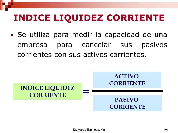 INDICE LIQUIDEZ CORRIENTE