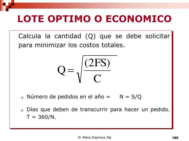 LOTE OPTIMO O ECONOMICO