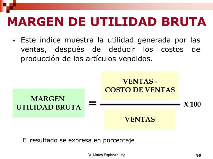 MARGEN DE UTILIDAD BRUTA