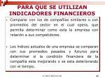 para que se utilizan indicadores financieros