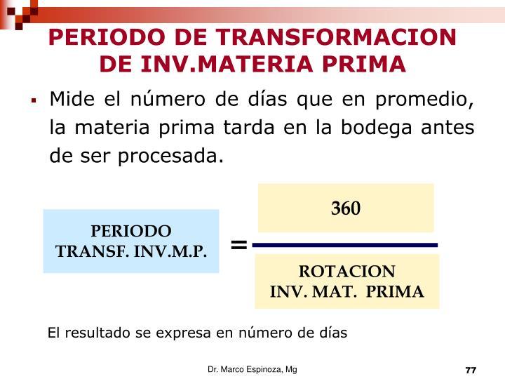 PERIODO DE TRANSFORMACION DE INV.MATERIA PRIMA