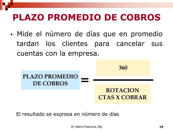PLAZO PROMEDIO DE COBROS
