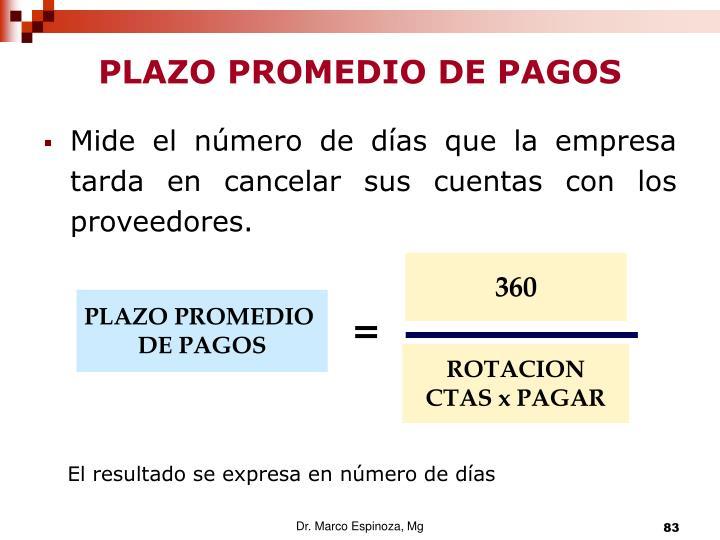 PLAZO PROMEDIO DE PAGOS