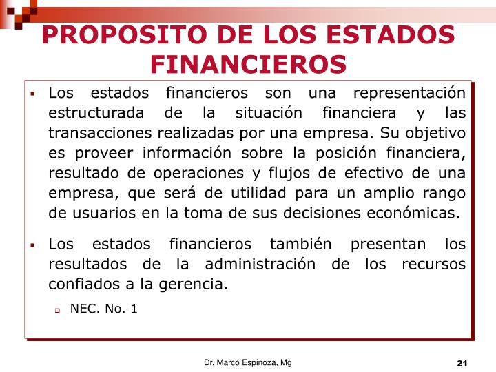 PROPOSITO DE LOS ESTADOS FINANCIEROS