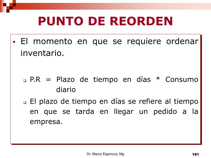 PUNTO DE REORDEN