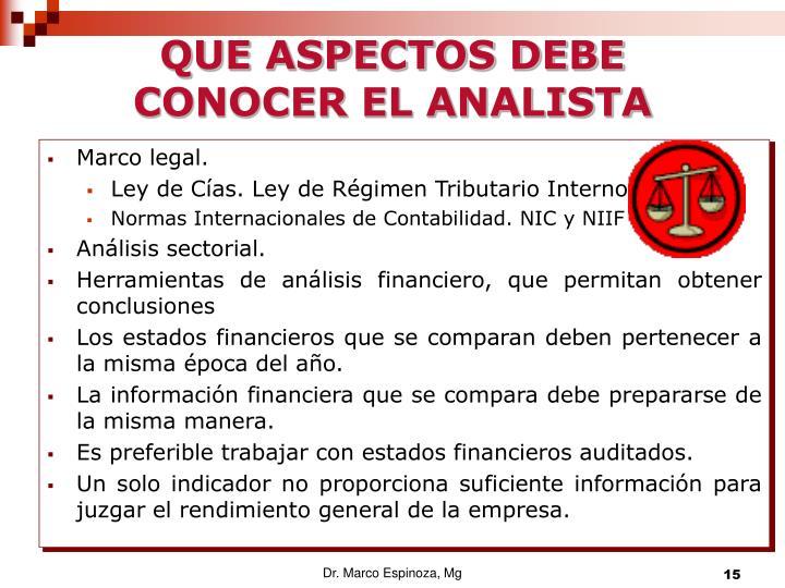 QUE ASPECTOS DEBE CONOCER EL ANALISTA