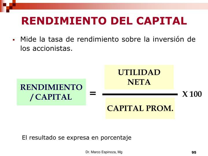 RENDIMIENTO DEL CAPITAL