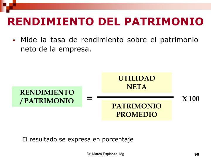 RENDIMIENTO DEL PATRIMONIO