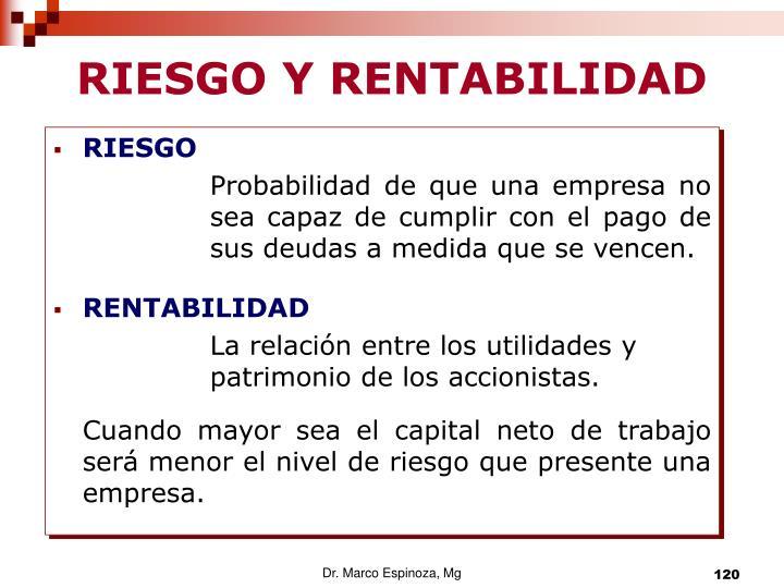 RIESGO Y RENTABILIDAD