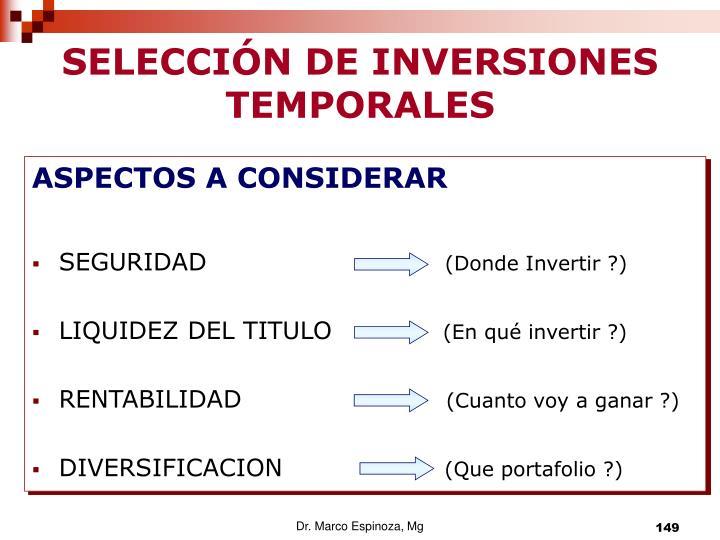 SELECCIÓN DE INVERSIONES TEMPORALES