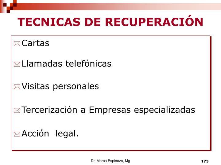 TECNICAS DE RECUPERACIÓN