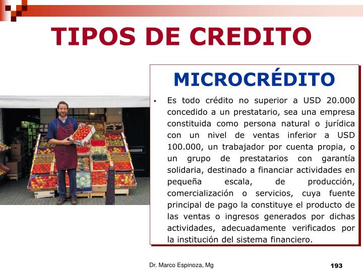 TIPOS DE CREDITO