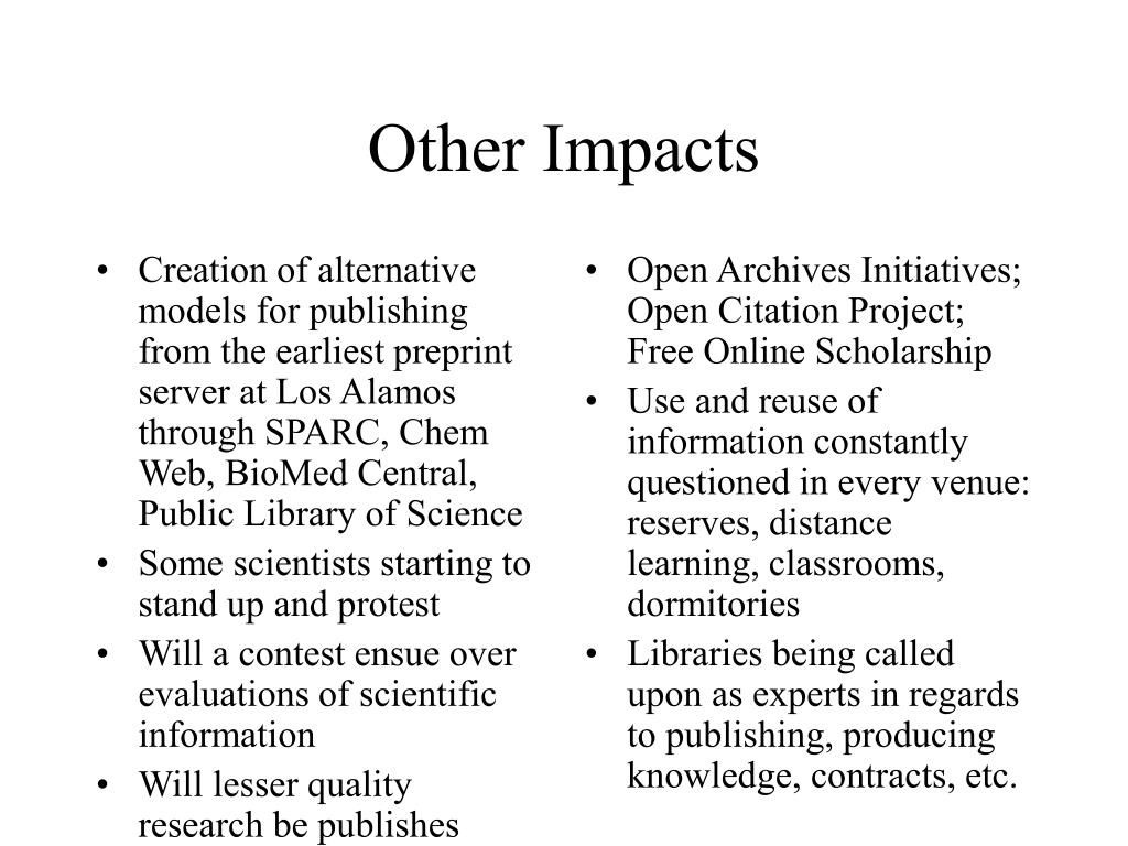 Creation of alternative models for publishing from the earliest preprint server at Los Alamos through SPARC, Chem Web, BioMed Central, Public Library of Science