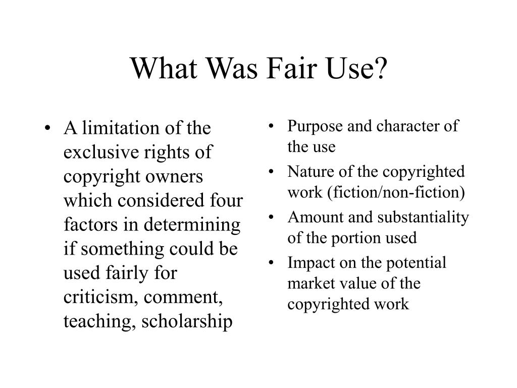 A limitation of the exclusive rights of copyright owners which considered four factors in determining if something could be used fairly for criticism, comment, teaching, scholarship