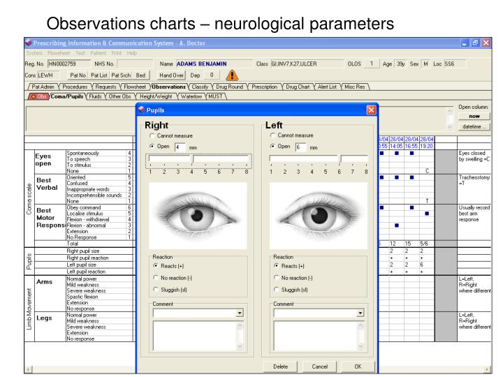 Observations charts – neurological parameters