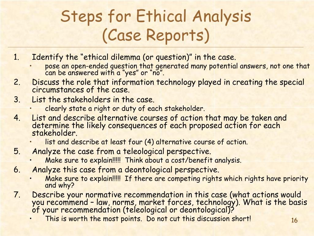 Steps for Ethical Analysis