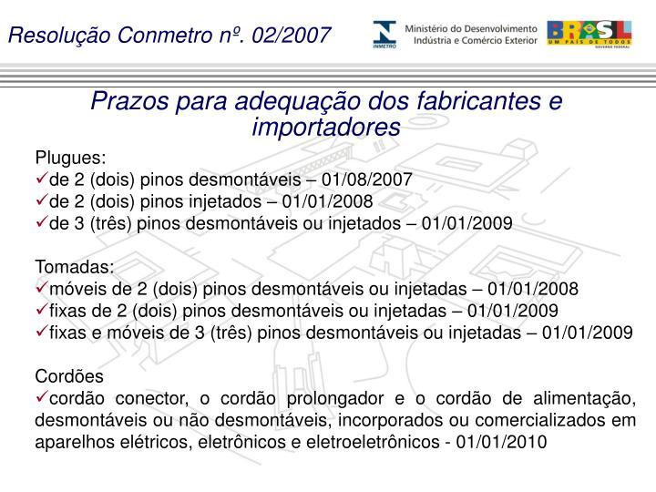 Resolução Conmetro nº. 02/2007
