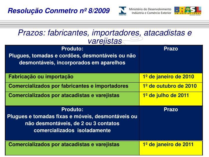 Resolução Conmetro nº 8/2009