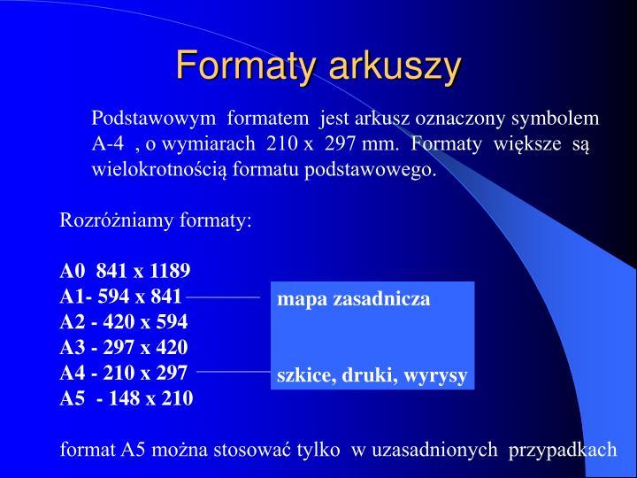 Formaty arkuszy