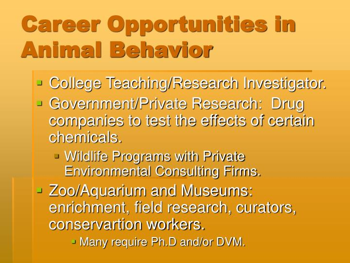 Career Opportunities in Animal Behavior