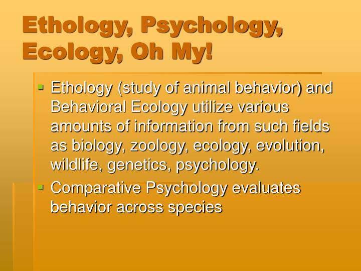 Ethology, Psychology, Ecology, Oh My!