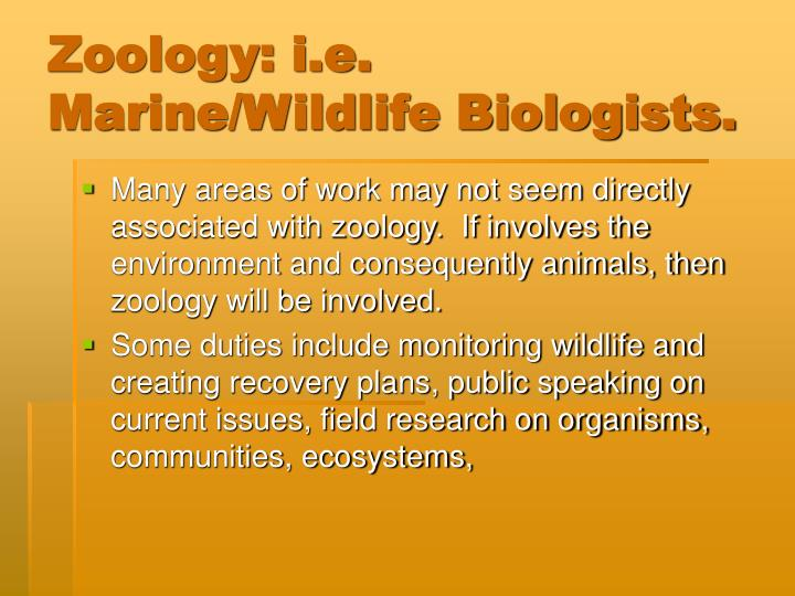 Zoology: i.e. Marine/Wildlife Biologists.