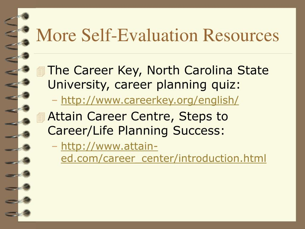 More Self-Evaluation Resources
