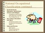 national occupational classification continued