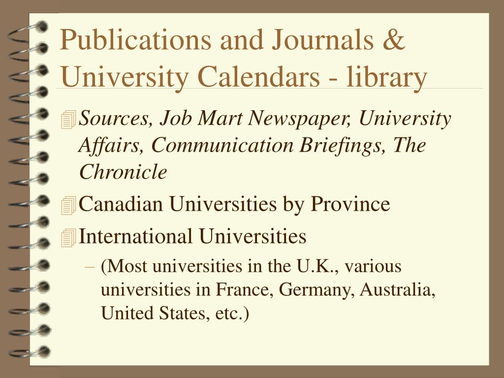 Publications and Journals & University Calendars - library