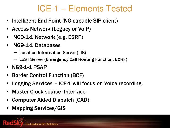ICE-1 – Elements Tested