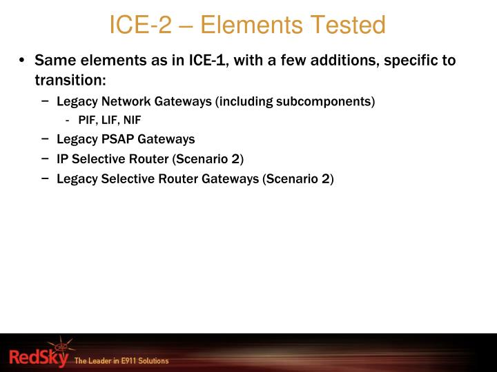 ICE-2 – Elements Tested