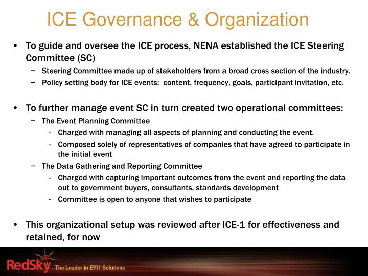 ICE Governance & Organization