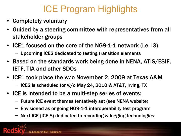 ICE Program Highlights