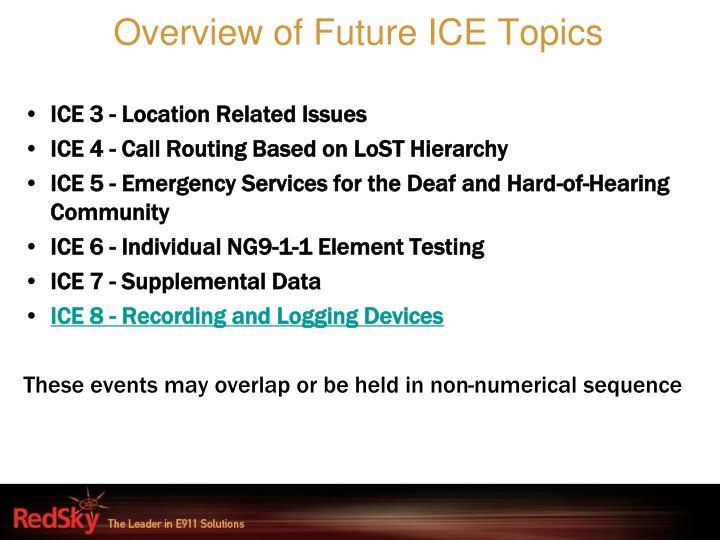 Overview of Future ICE Topics
