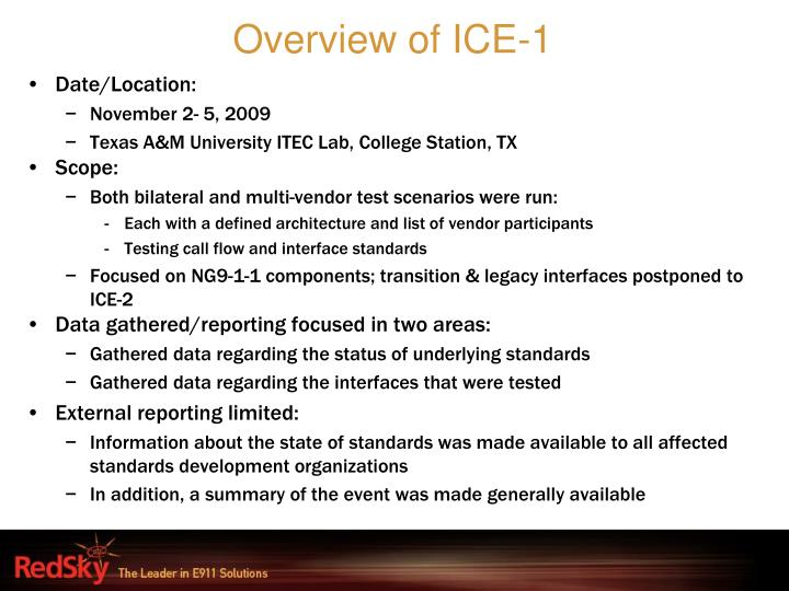 Overview of ICE-1