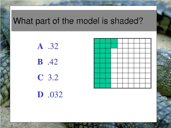 What part of the model is shaded?