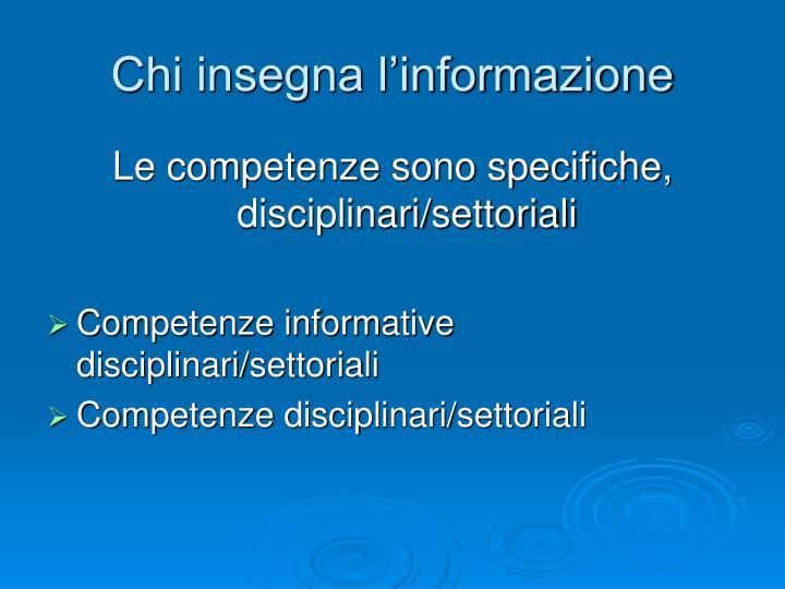 Chi insegna l'informazione