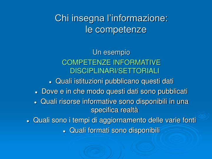 Chi insegna l'informazione: