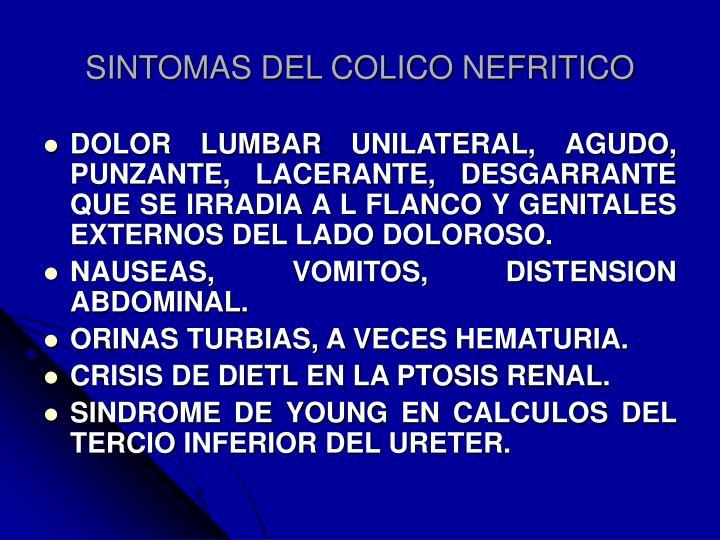 SINTOMAS DEL COLICO NEFRITICO
