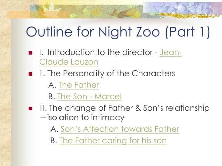 Outline for night zoo part 1